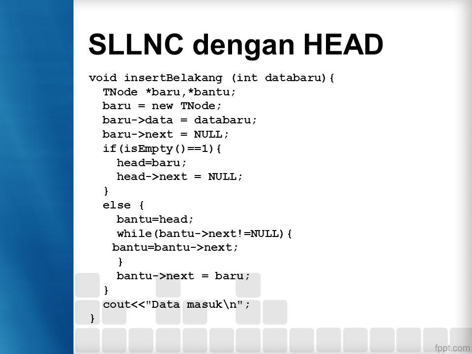 SLLNC dengan Head Penambahan data di belakang Penambahan data dilakukan di belakang, namun pada saat pertama kali, node langsung ditunjuk oleh head. P