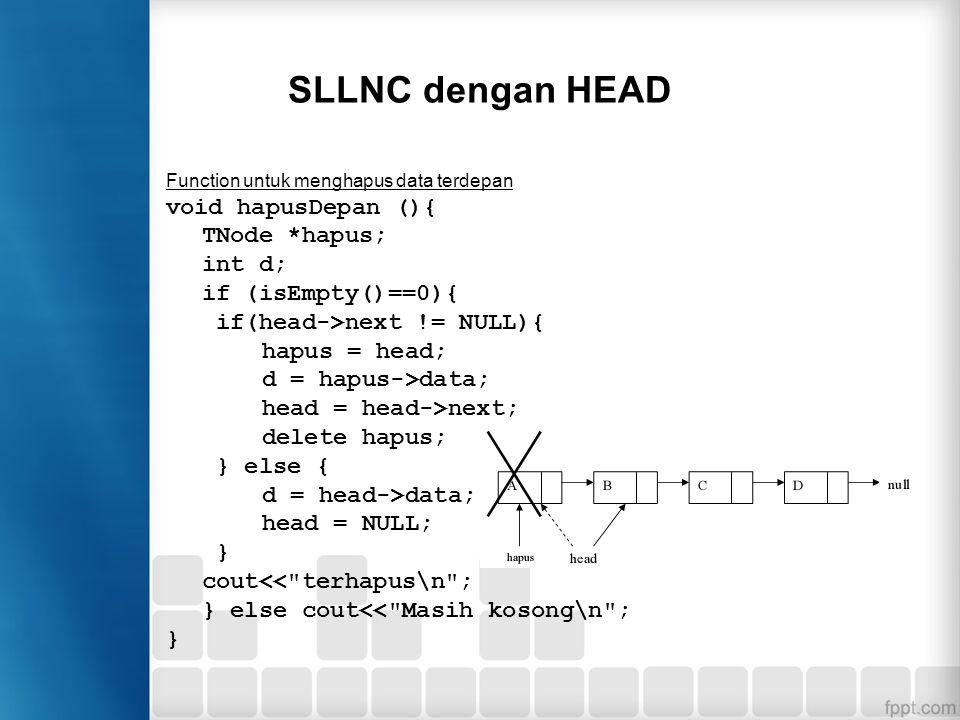 SLLNC dengan HEAD Function di atas digunakan untuk menampilkan semua isi list, di mana linked list ditelusuri satu-persatu dari awal node sampai akhir