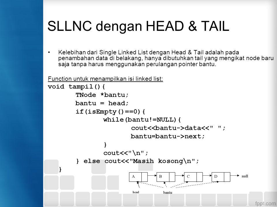 SLLNC dengan HEAD & TAIL