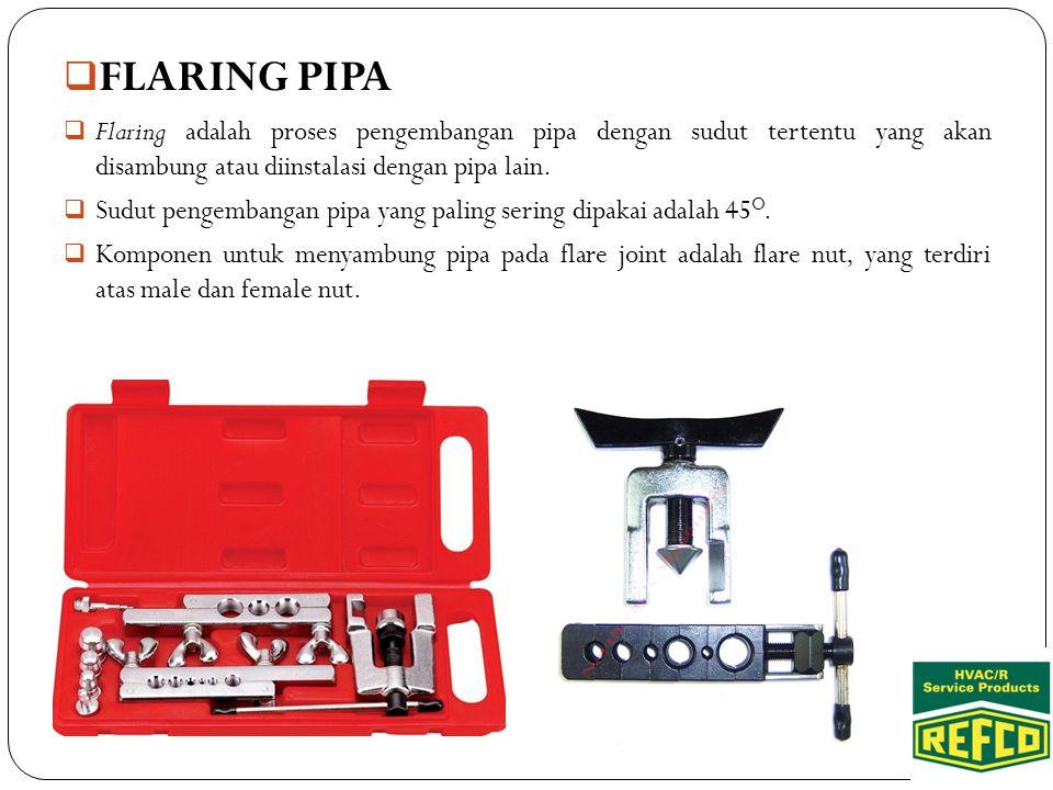  FLARING PIPA  Flaring adalah proses pengembangan pipa dengan sudut tertentu yang akan disambung atau diinstalasi dengan pipa lain.  Sudut pengemba