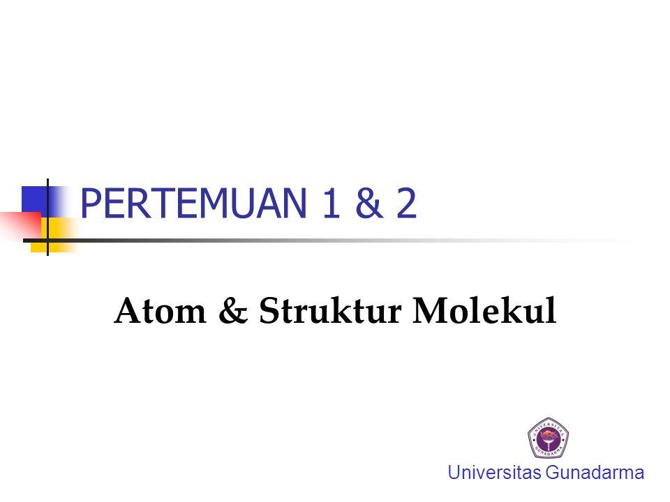 PERTEMUAN 1 & 2 Atom & Struktur Molekul Universitas Gunadarma
