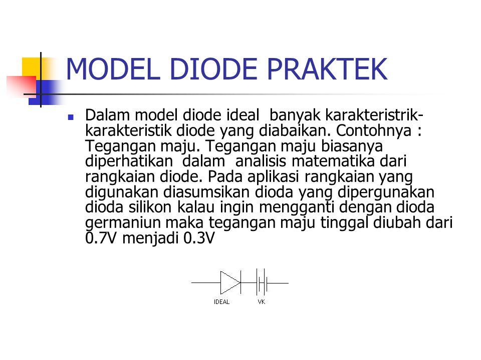 MODEL DIODE PRAKTEK Dalam model diode ideal banyak karakteristrik- karakteristik diode yang diabaikan. Contohnya : Tegangan maju. Tegangan maju biasan