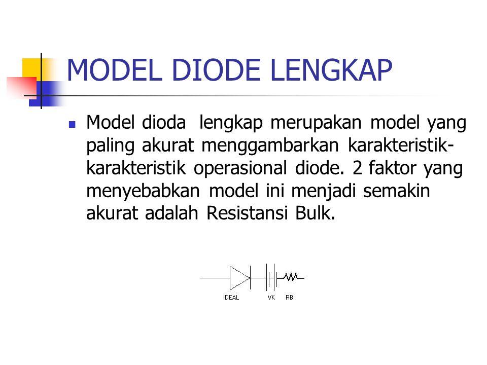 MODEL DIODE LENGKAP Model dioda lengkap merupakan model yang paling akurat menggambarkan karakteristik- karakteristik operasional diode. 2 faktor yang
