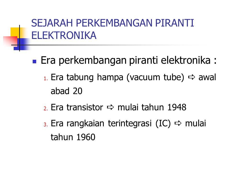 SEJARAH PERKEMBANGAN PIRANTI ELEKTRONIKA Era perkembangan piranti elektronika : 1. Era tabung hampa (vacuum tube)  awal abad 20 2. Era transistor  m
