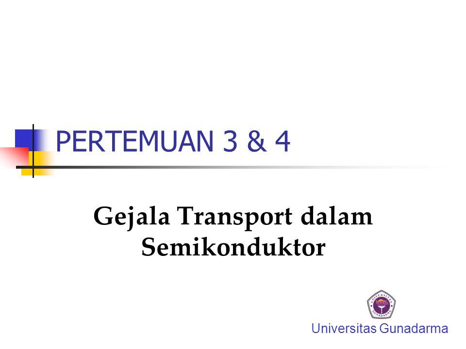 PERTEMUAN 3 & 4 Gejala Transport dalam Semikonduktor Universitas Gunadarma