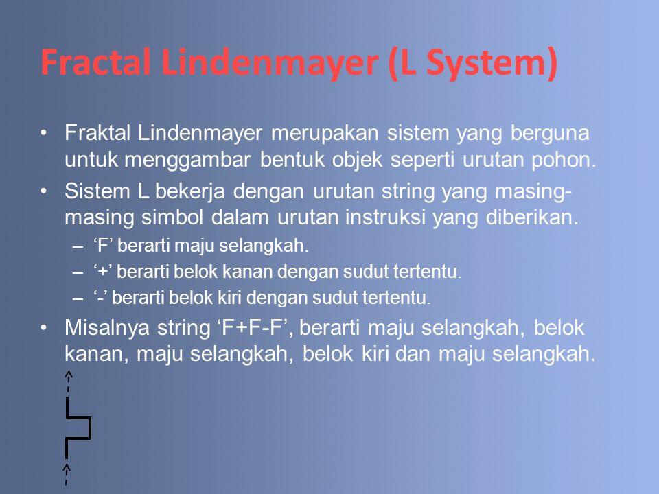 Fractal Lindenmayer (L System) Fraktal Lindenmayer merupakan sistem yang berguna untuk menggambar bentuk objek seperti urutan pohon. Sistem L bekerja