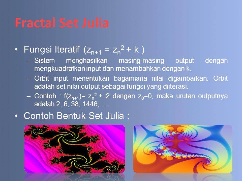 Fractal Set Julia Fungsi Iteratif (z n+1 = z n 2 + k ) –Sistem menghasilkan masing-masing output dengan mengkuadratkan input dan menambahkan dengan k.