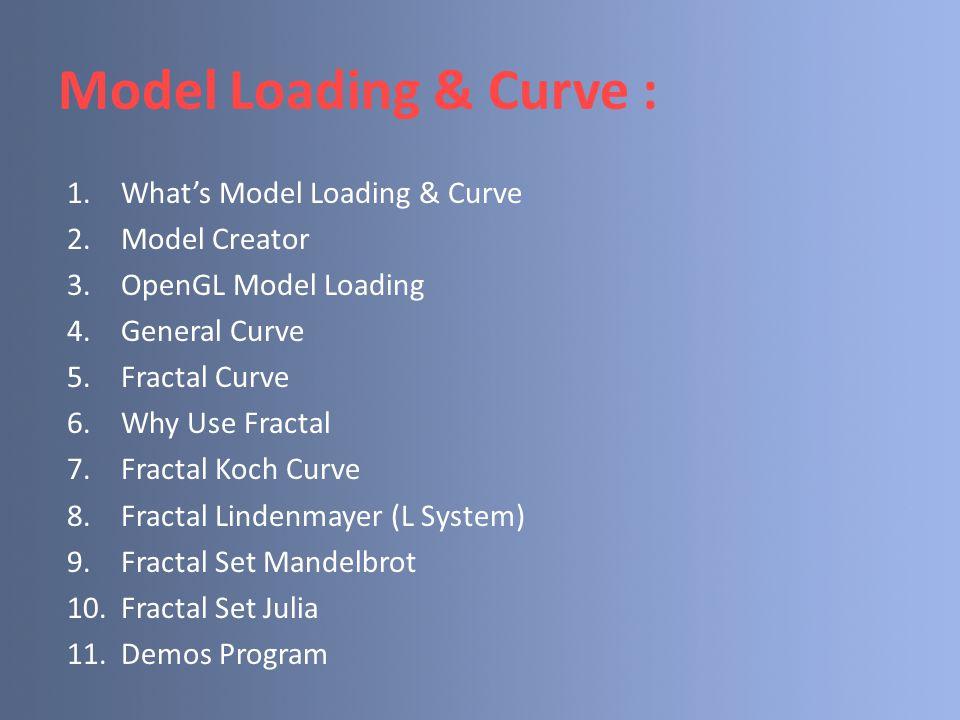 Model Loading & Curve : 1.What's Model Loading & Curve 2.Model Creator 3.OpenGL Model Loading 4.General Curve 5.Fractal Curve 6.Why Use Fractal 7.Frac