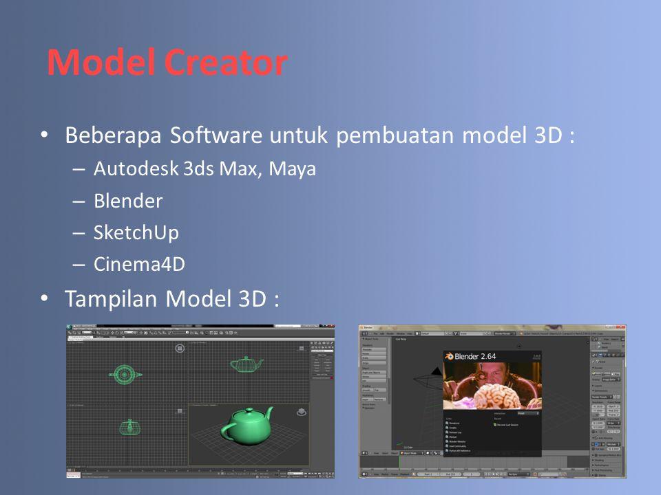 Model Creator Beberapa Software untuk pembuatan model 3D : – Autodesk 3ds Max, Maya – Blender – SketchUp – Cinema4D Tampilan Model 3D :