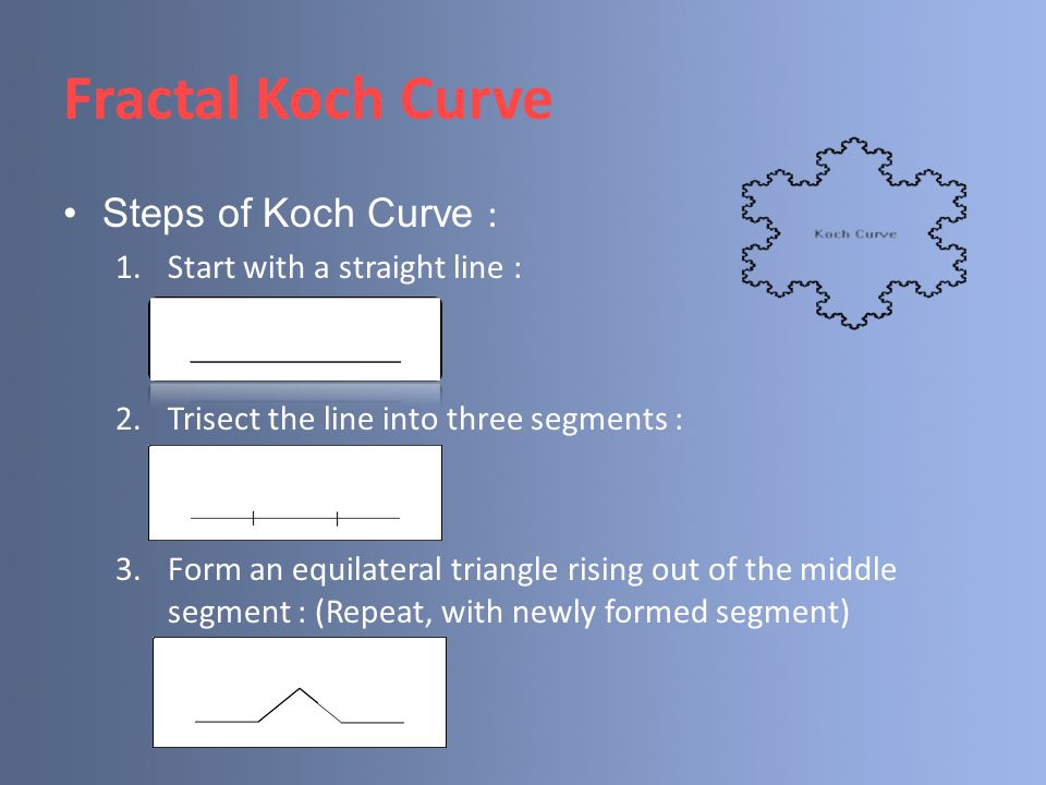 Fractal Koch Curve Steps of Koch Curve : 1.Start with a straight line : 2.Trisect the line into three segments : 3.Form an equilateral triangle rising