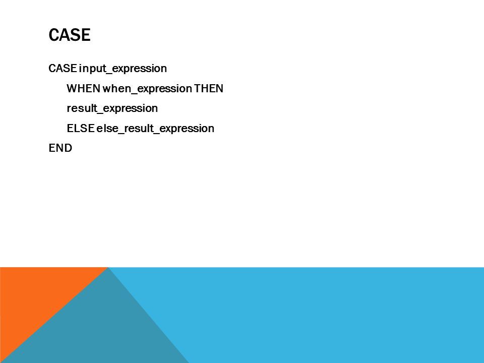 CASE CASE input_expression WHEN when_expression THEN result_expression ELSE else_result_expression END