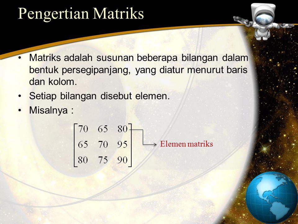 Pengertian Matriks Matriks adalah susunan beberapa bilangan dalam bentuk persegipanjang, yang diatur menurut baris dan kolom. Setiap bilangan disebut