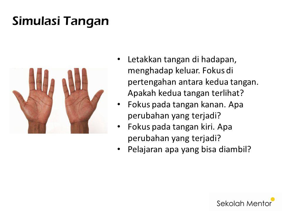 Simulasi Tangan Letakkan tangan di hadapan, menghadap keluar. Fokus di pertengahan antara kedua tangan. Apakah kedua tangan terlihat? Fokus pada tanga
