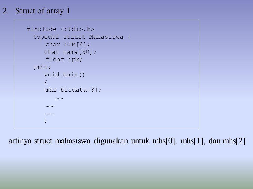 2.Struct of array 1 artinya struct mahasiswa digunakan untuk mhs[0], mhs[1], dan mhs[2] #include typedef struct Mahasiswa { char NIM[8]; char nama[50]