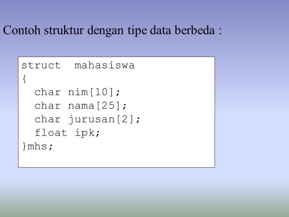 struct mahasiswa { char nim[10]; char nama[25]; char jurusan[2]; float ipk; }mhs; Contoh struktur dengan tipe data berbeda :