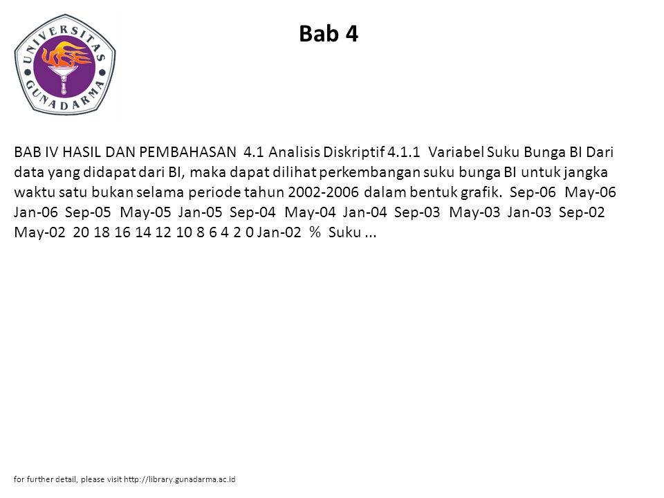 Bab 4 BAB IV HASIL DAN PEMBAHASAN 4.1 Analisis Diskriptif 4.1.1 Variabel Suku Bunga BI Dari data yang didapat dari BI, maka dapat dilihat perkembangan suku bunga BI untuk jangka waktu satu bukan selama periode tahun 2002-2006 dalam bentuk grafik.