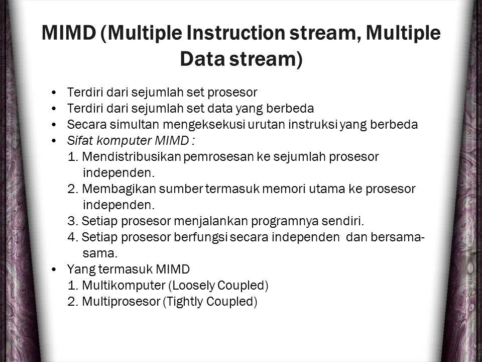 MIMD (Multiple Instruction stream, Multiple Data stream) Terdiri dari sejumlah set prosesor Terdiri dari sejumlah set data yang berbeda Secara simulta