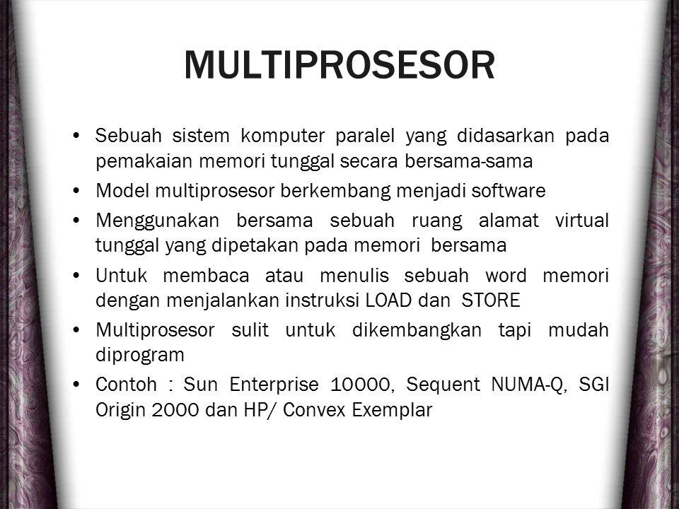 MULTIPROSESOR Sebuah sistem komputer paralel yang didasarkan pada pemakaian memori tunggal secara bersama-sama Model multiprosesor berkembang menjadi