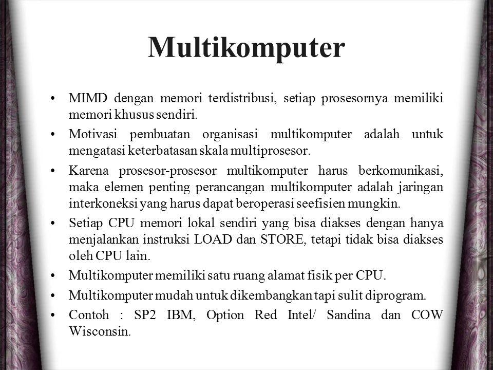 Multikomputer MIMD dengan memori terdistribusi, setiap prosesornya memiliki memori khusus sendiri. Motivasi pembuatan organisasi multikomputer adalah