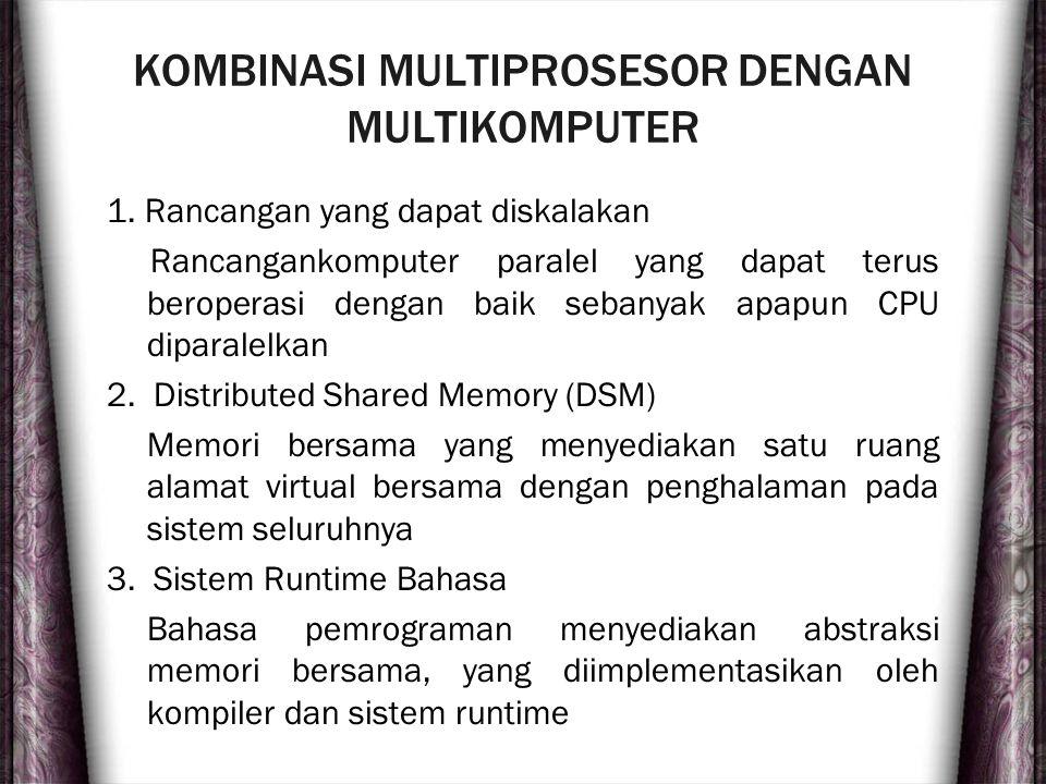 KOMBINASI MULTIPROSESOR DENGAN MULTIKOMPUTER 1. Rancangan yang dapat diskalakan Rancangankomputer paralel yang dapat terus beroperasi dengan baik seba