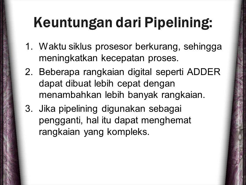 Keuntungan dari Pipelining: 1.Waktu siklus prosesor berkurang, sehingga meningkatkan kecepatan proses. 2.Beberapa rangkaian digital seperti ADDER dapa
