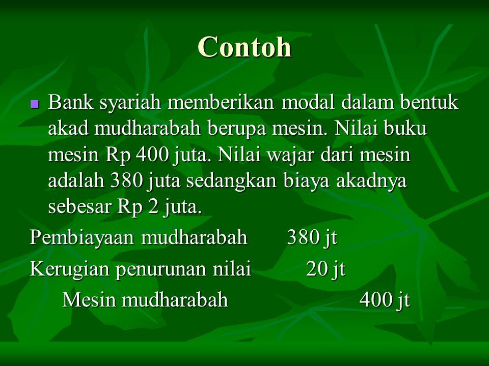 Contoh Bank syariah memberikan modal dalam bentuk akad mudharabah berupa mesin. Nilai buku mesin Rp 400 juta. Nilai wajar dari mesin adalah 380 juta s