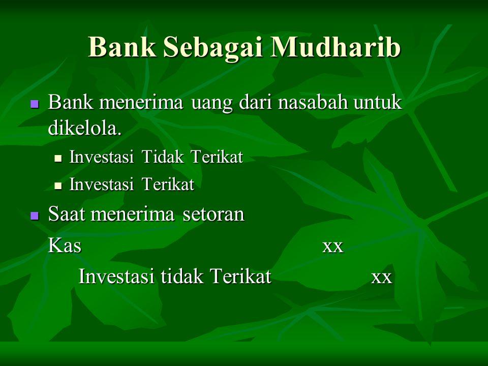 Bank Sebagai Mudharib Bank menerima uang dari nasabah untuk dikelola. Bank menerima uang dari nasabah untuk dikelola. Investasi Tidak Terikat Investas