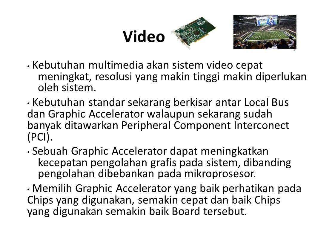 Video Kebutuhan multimedia akan sistem video cepat meningkat, resolusi yang makin tinggi makin diperlukan oleh sistem. Kebutuhan standar sekarang berk