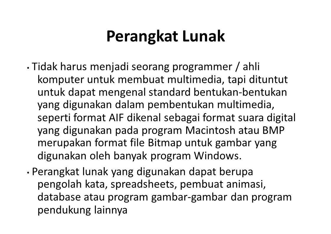 Perangkat Lunak Tidak harus menjadi seorang programmer / ahli komputer untuk membuat multimedia, tapi dituntut untuk dapat mengenal standard bentukan-
