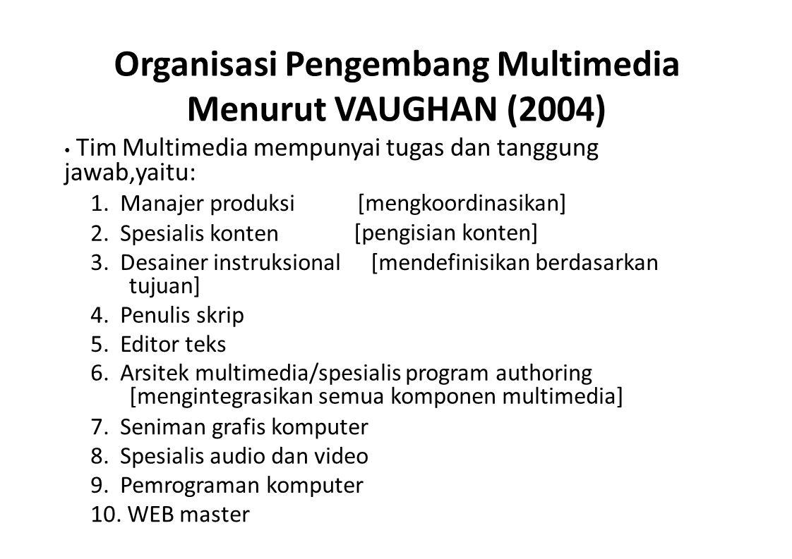 Organisasi Pengembang Multimedia Menurut WES BAKER Tim Multimedia berdasarkan cakupan isi proyek & individu dibutuhkan 18 anggota yaitu : 1.Produser eksekutif[sebagai prestise] 2.Produser/manajer proyek[jadual, tugas] 3.Direktur kreatif/desainer multimedia[cipta struktur untuk isi/blue print] 4.Direktur seni/desainer visual[konsep diterjemahkan ke visual] 5.Seniman[buat grafis multimedia] 6.Desainer antarmuka[menciptakan perangkat lunak] 7.Desainer game[aturan, struktur & level pada game] 8.Analisis masalah[menfasilitasi apabila ada masalah] 9.Desainer instruksional/spesialis pelatihan[mempresentasikannya dgn benar] 10.Penulis[menciptakan karakter, isi] 11.Animator[byk gambar utk membentuk ilusi] 12.Produser audio[mengelola suara] 13.Komposer musik[ciptakan lagu tuk multimedia] 14.Produser video[bertanggungjawab terhdp hsl video] 15.Pemrograman multimedia[menintegrasikan semua elemen] 16.Pemrograman WEB[menintegrasikan semua elemen] 17.Ahli media[bertanggungjawab menentukan media] 18.Direktur pemasaran[bertanggungjawab memasarkan]