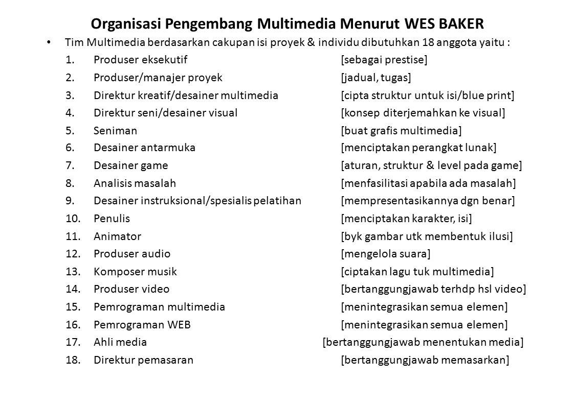 Organisasi Pengembang Multimedia Menurut WES BAKER Tim Multimedia berdasarkan cakupan isi proyek & individu dibutuhkan 18 anggota yaitu : 1.Produser e