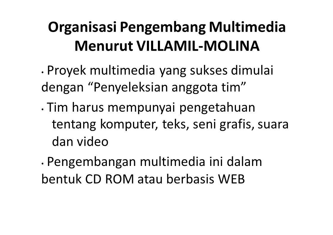 """Organisasi Pengembang Multimedia Menurut VILLAMIL-MOLINA Proyek multimedia yang sukses dimulai dengan """"Penyeleksian anggota tim"""" Tim harus mempunyai p"""