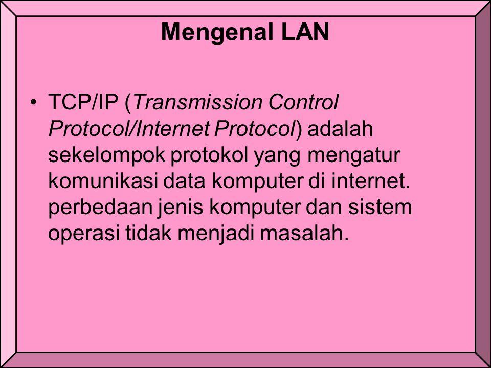 Mengenal LAN TCP/IP (Transmission Control Protocol/Internet Protocol) adalah sekelompok protokol yang mengatur komunikasi data komputer di internet.