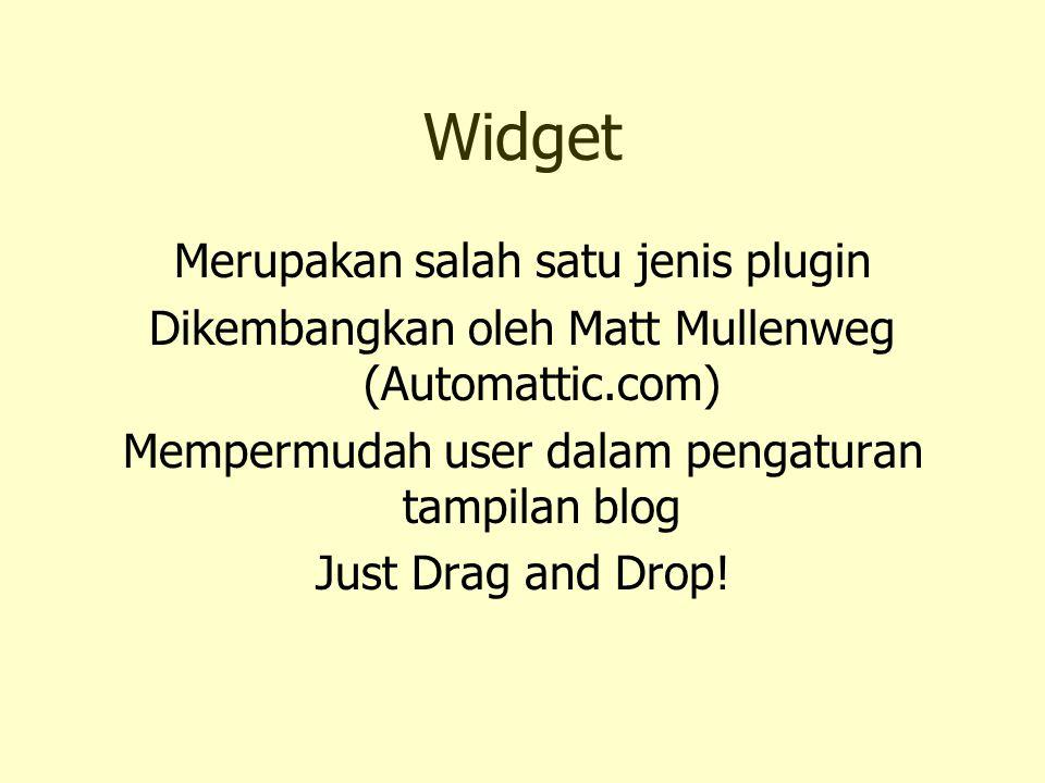 Widget Merupakan salah satu jenis plugin Dikembangkan oleh Matt Mullenweg (Automattic.com) Mempermudah user dalam pengaturan tampilan blog Just Drag a