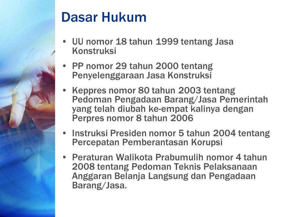 Dasar Hukum UU nomor 18 tahun 1999 tentang Jasa Konstruksi PP nomor 29 tahun 2000 tentang Penyelenggaraan Jasa Konstruksi Keppres nomor 80 tahun 2003