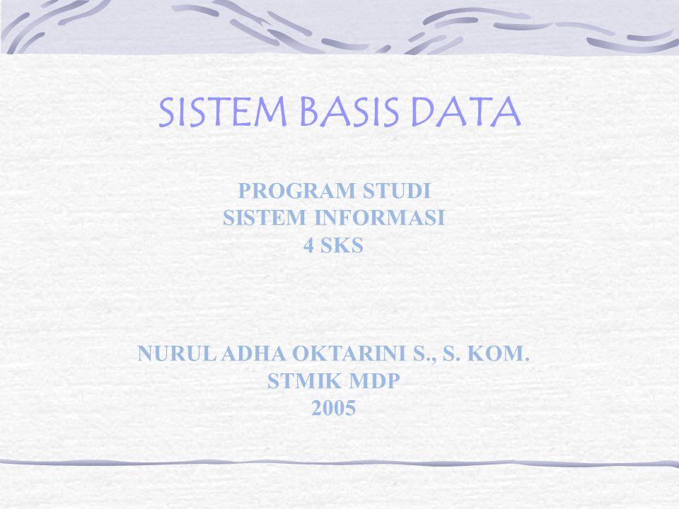 SISTEM BASIS DATA PROGRAM STUDI SISTEM INFORMASI 4 SKS NURUL ADHA OKTARINI S., S.