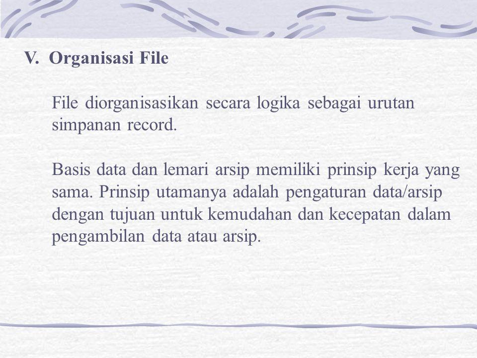 V. Organisasi File File diorganisasikan secara logika sebagai urutan simpanan record.