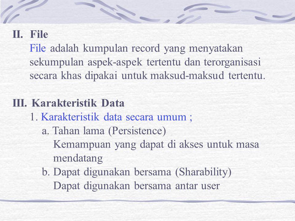 II. File File adalah kumpulan record yang menyatakan sekumpulan aspek-aspek tertentu dan terorganisasi secara khas dipakai untuk maksud-maksud tertent