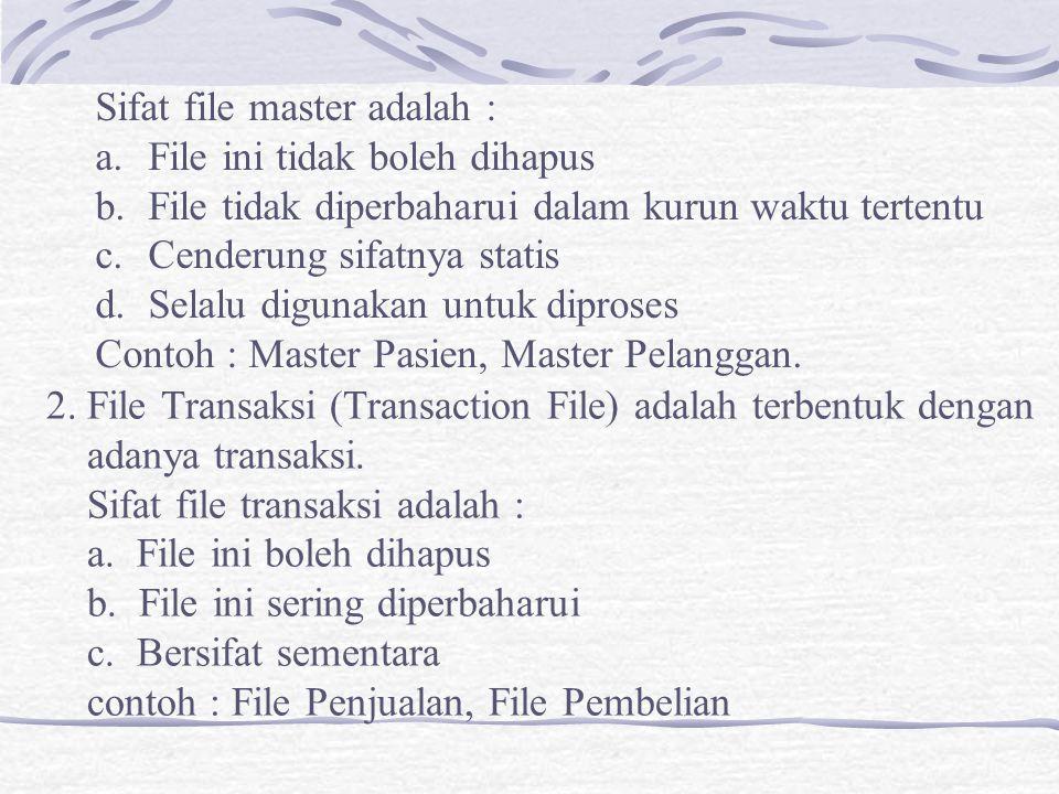 3.File Sejarah (History File) adalah file hasil pengolahan masa lalu.