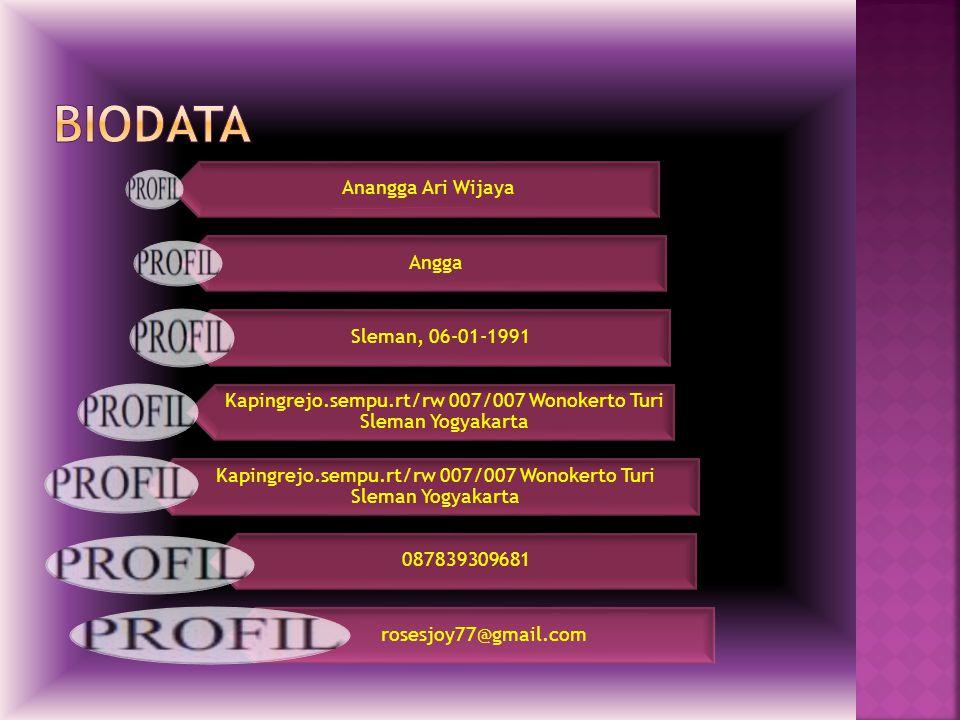 Anangga Ari Wijaya Angga Sleman, 06-01-1991 Kapingrejo.sempu.rt/rw 007/007 Wonokerto Turi Sleman Yogyakarta 087839309681 rosesjoy77@gmail.com