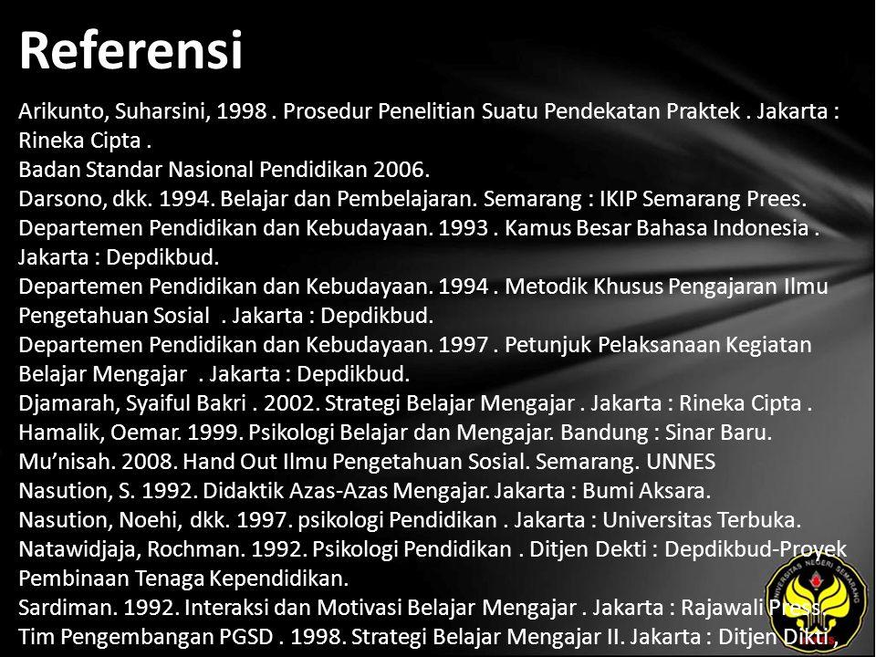 Referensi Arikunto, Suharsini, 1998. Prosedur Penelitian Suatu Pendekatan Praktek. Jakarta : Rineka Cipta. Badan Standar Nasional Pendidikan 2006. Dar