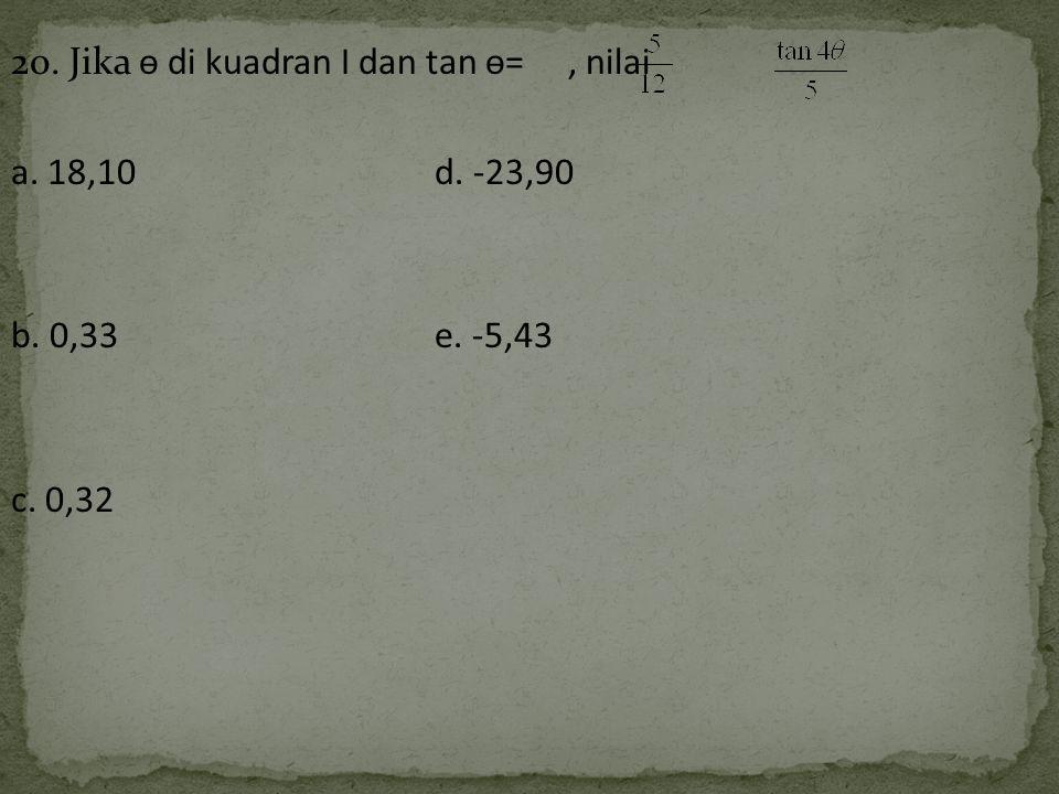 20. Jika ѳ di kuadran I dan tan ѳ=, nilai a. 18,10 d. -23,90 b. 0,33e. -5,43 c. 0,32
