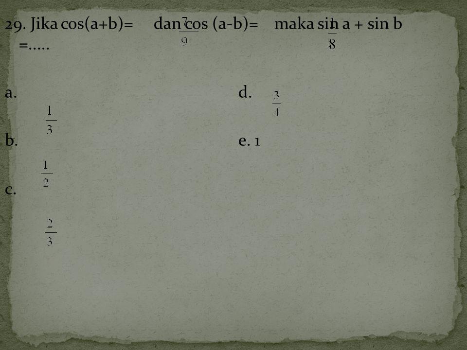 29. Jika cos(a+b)= dan cos (a-b)= maka sin a + sin b =..... a.d. b.e. 1 c.