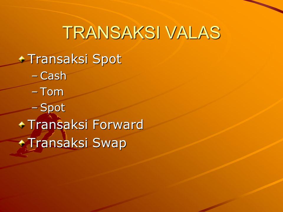TRANSAKSI VALAS Transaksi Spot –Cash –Tom –Spot Transaksi Forward Transaksi Swap
