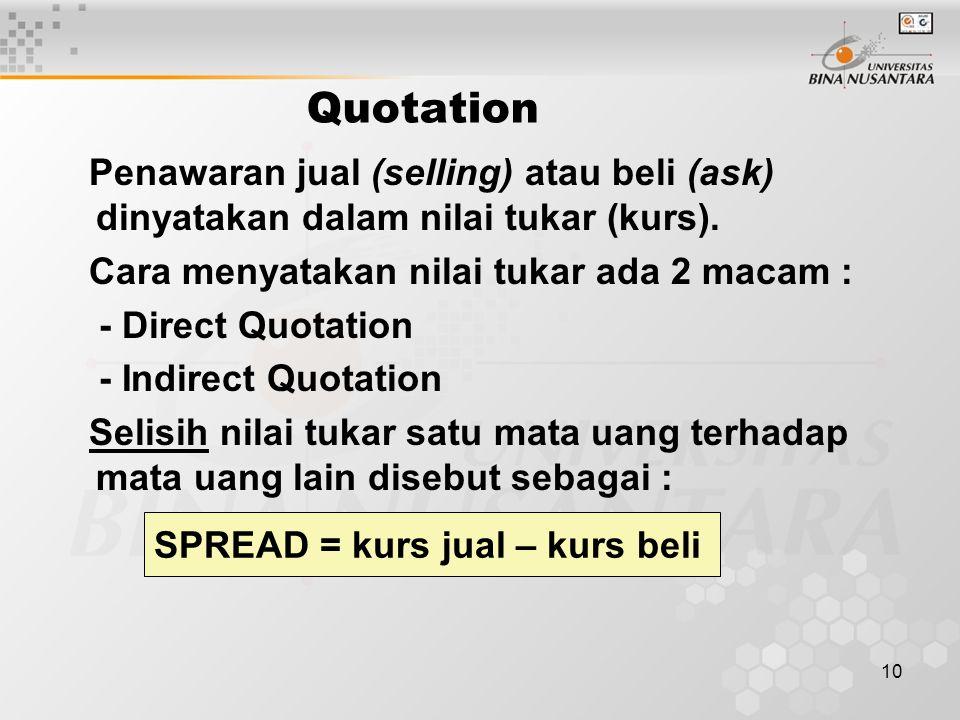 10 Quotation Penawaran jual (selling) atau beli (ask) dinyatakan dalam nilai tukar (kurs).