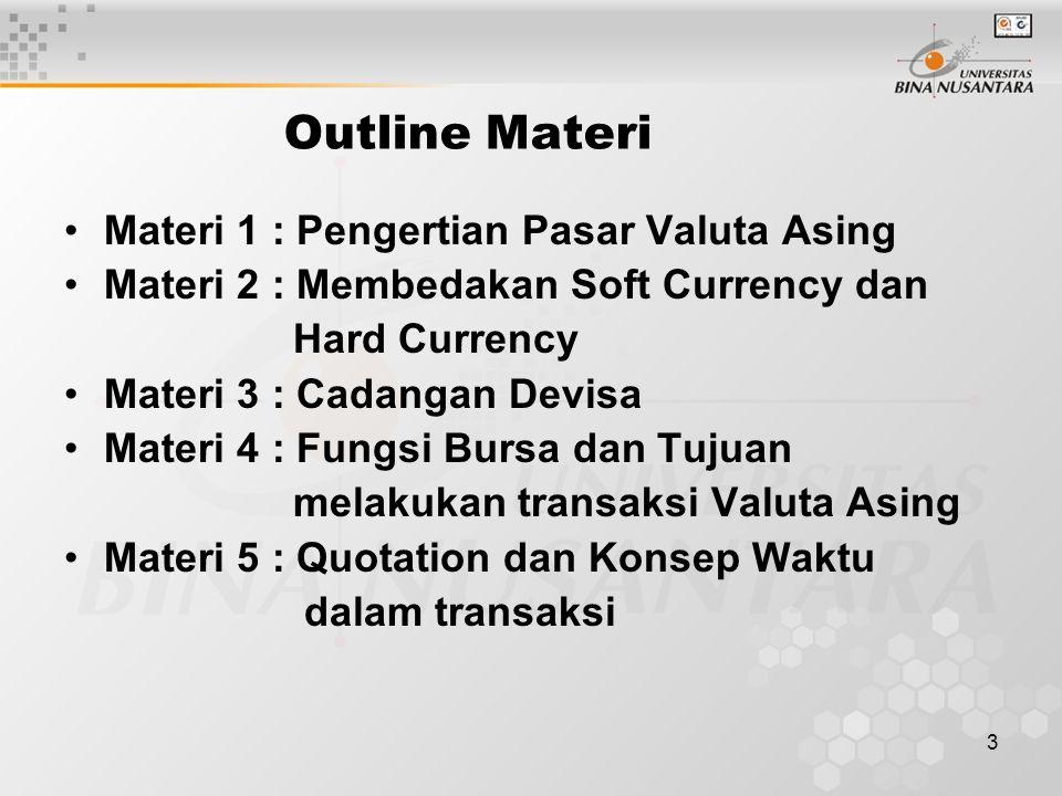 3 Outline Materi Materi 1 : Pengertian Pasar Valuta Asing Materi 2 : Membedakan Soft Currency dan Hard Currency Materi 3 : Cadangan Devisa Materi 4 : Fungsi Bursa dan Tujuan melakukan transaksi Valuta Asing Materi 5 : Quotation dan Konsep Waktu dalam transaksi