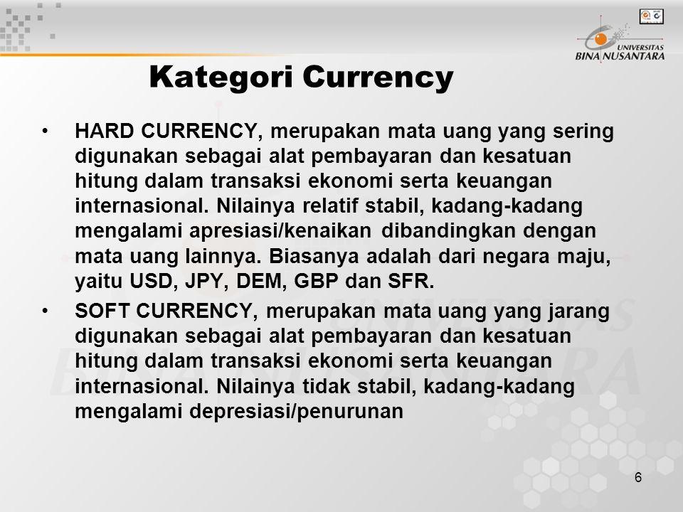 6 Kategori Currency HARD CURRENCY, merupakan mata uang yang sering digunakan sebagai alat pembayaran dan kesatuan hitung dalam transaksi ekonomi serta keuangan internasional.