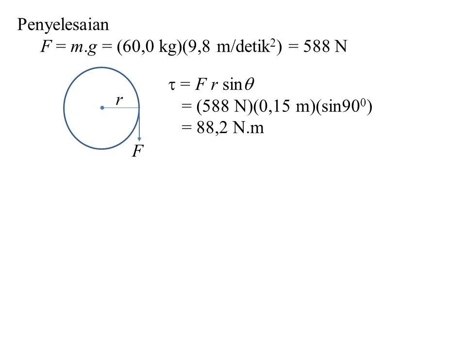 F = m.g = (60,0 kg)(9,8 m/detik 2 ) = 588 N F r  = F r sin  = (588 N)(0,15 m)(sin90 0 ) = 88,2 N.m