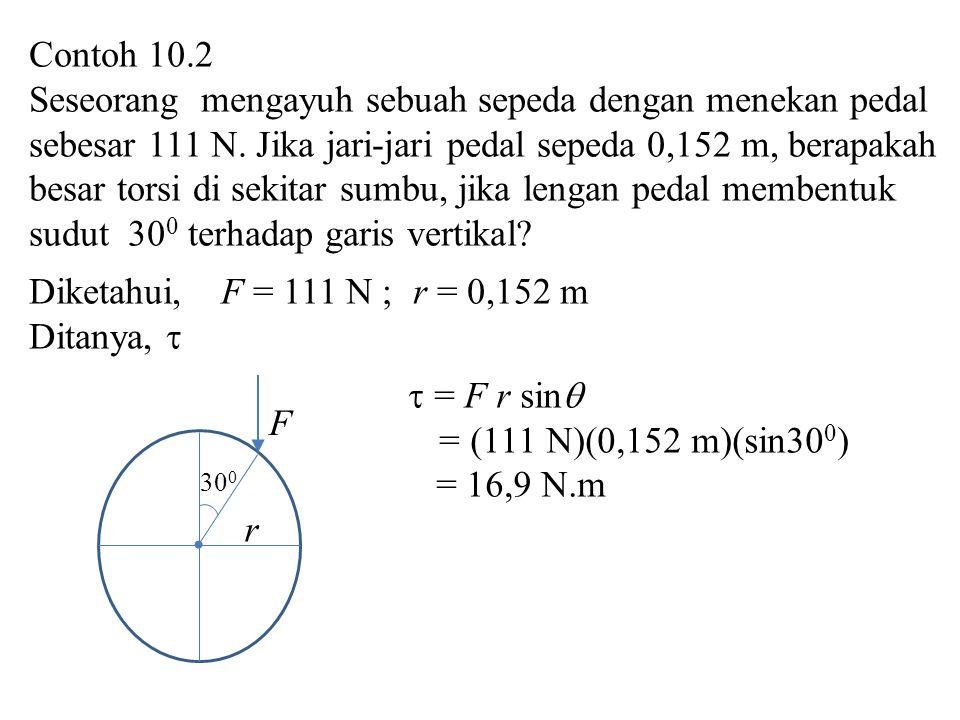 Contoh 10.3 Torsi sebesar 32,0 N.m dikenakan pada sebuah roda dan menghasilkan percepatan sudut sebesr 25,0 rad/s 2.