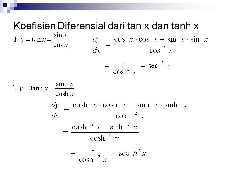 Koefisien Diferensial dari tan x dan tanh x